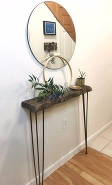 Rustic Hallway Table, Rustic Console Tables, Narrow Console Table, Modern Country, Rustic Modern, Dark Oak Furniture, Skinny Console Table, Entrance Hall Decor, Living Room Update