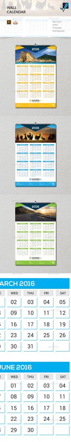 Wall Calendar 2016 Vector Template EPS, AI #design Download: http://graphicriver.net/item/wall-calendar-2016/13847619?ref=ksioks