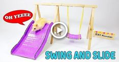 Making Swing Slide And Beautiful Playground For Hamster- DIY Hamster Cool Hamster Cages, Diy Hamster Toys, Hamster Life, Hamster Habitat, Baby Hamster, Hamster Stuff, Hamster Ideas, Hamster Shop, Puppies And Kitties
