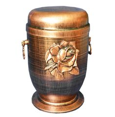 This beautiful Cremation Urn is made from metal which Rose Emblem on the front . A wonderful final peaceful resting place for a dearly loved one. Our each crem