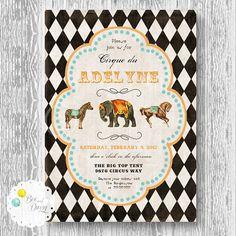 Vintage Circus invito per festa di compleanno o Baby Shower invito stampabile fai da te di BeeAndDaisy presenti su idee festa di Kara