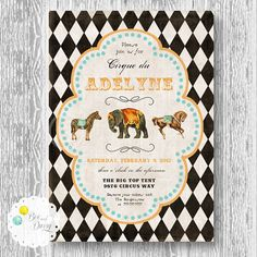 Vintage Circus Invitation for Birthday Party or by BeeAndDaisy, $13.00