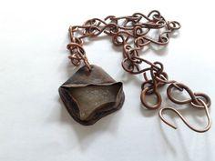 rustic handmade pendant of irregular white rough  by tizianat