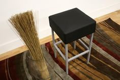 Kitchen Furniture :: Counter Stools :: Andante Black Faux Leather Counter Stool - Bachelor Furniture: Bar Furniture, Dorm Furniture, Apartment Furniture