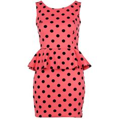 Coral Polka Dot Print Peplum Dress ($10.00) ❤ liked on Polyvore featuring dresses, red floral print dress, coral red dress, floral dresses, dot dresses and floral peplum dress