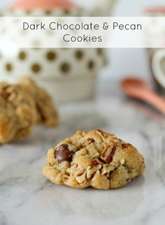 These soft, chewy dark chocolate and pecan cookies are a more sophisticated version of the traditional chocolate chip. They'll quickly become a favorite. These easy cookies are great for the holidays and are perfect for Christmas cookie exchanges. Chocolate Chip Cookies, Pecan Cookies, Yummy Cookies, Yummy Treats, Sweet Treats, Köstliche Desserts, Delicious Desserts, Dessert Recipes, Bar Recipes