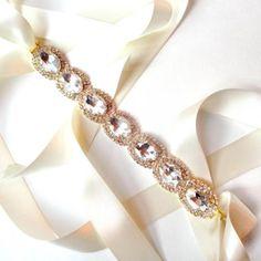 Exquisite Bridal Belt Sash in GOLD - Custom Ribbon - White Ivory Satin - Silver Wedding Dress Belt
