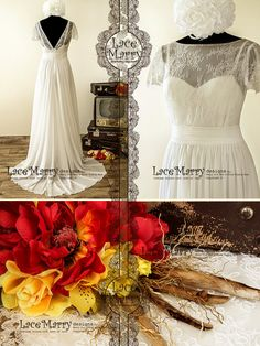 Rustic Style Soft Lace Wedding Dress with Airy Chiffon A Line Skirt and Sweep Train Featuring Sweetheart Illusion Neckline and V Cut Back   1900's