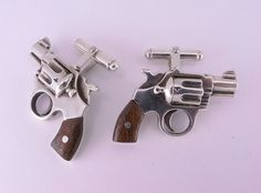 Sterling Silver Revolver Cufflinks with by MetalCoutureJewelry, $360.00