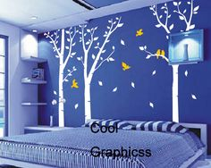 vinyl wall decals trees wall decal office wall sticker kids wall decal baby nursery bedroom children art wall decor - Birch Trees Forest