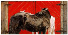 Limited Edition Print-Black Horse, White Horse with Red Barn Door-Susan Hertel-S #Impressionism