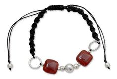 Adjustable macramé bracelet features red onyx squares and silver beads.  Shamballa represents tranquility, peace and happiness – the oneness of all.  #handmade #jewelry #knotting #beading