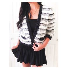 """Calvin Klein Black & White Striped Fuzzy Cardigan This black & white cardigan style feels like a chic Chanel piece. It's a great statement piece & nice for Fall. The knit is a medium weight with a cute shaggy style {actual color of item may vary slightly from photos}  •shoulders:19"""" •chest:21"""" •waist:20""""w •length:19"""" •sleeve:23.5""""  Material:17%ramie38%acrylic45%%polyester ️️️️️️️️️️️️️️️️️️Dry Clean  Fit:could fit a medium Condition:no rips no stains  ❌no holds ❌no trades ♥️️bundles of…"""