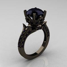 Classic French 14K Black Gold 3.0 Carat Black Diamond Solitaire Wedding Ring R401-14KBGBD. $2,149.00, via Etsy.