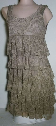 Forever 21 brown lace layered  floral dress size small sleeveless USA #FOREVER21 #Blouson #Formal