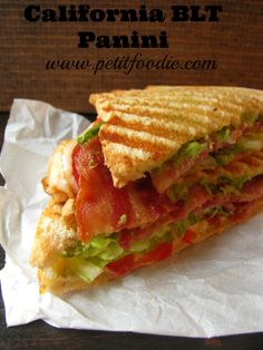 California BLT Panini Recipe would taste great on Ezekiel Bread. Panini Sandwiches, Grilled Sandwich, Soup And Sandwich, Sandwich Recipes, Healthy Sandwiches, Paninis, Lunch Snacks, Grilling Recipes, Cooking Recipes