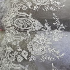Lace w/Embroidery Fabric 52 wide sold by the by ElegantInterior