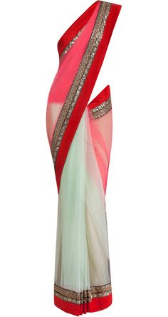 Red georgette and net sari by SABYASACHI.