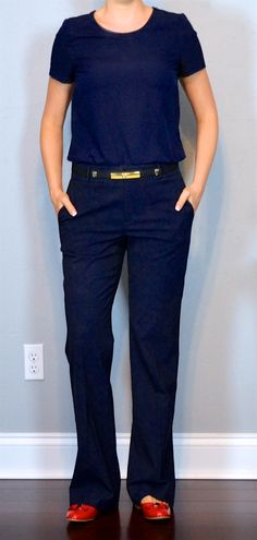 outfit post: navy crepe top, navy pants, red ballet bow flats
