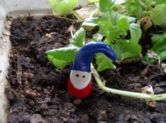 Handmade Clay Miniature Gnome - Fairy Garden Accessories. $1.75, via Etsy.