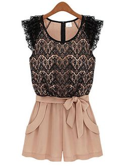 Black and Pink Color Blocking Lace Mini Rompers