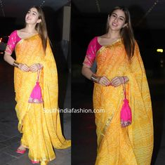 Sara Ali Khan in a yellow saree at Jackky Bhagnani's Diwali party - sara ali khan yellow bandhani saree at jakky bhagnani diwali party 1 Source by southfashions - Party Wear Indian Dresses, Indian Bridal Outfits, Indian Fashion Dresses, Dress Indian Style, Indian Designer Outfits, Trendy Sarees, Stylish Sarees, Sarees For Girls, Bandhani Dress