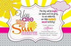 You are my Sunshine Party Invitation (DIY, Printable)