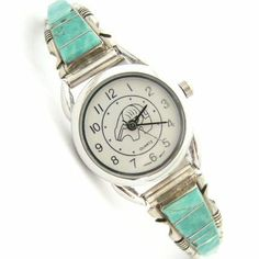Four Corners USA Online American Artisan Jewelry - Women's Turquoise Inlay Sterling Watch Bear Motif Face Native American Jewelry Steve Francisco, $107.00 (http://stores.fourcornersusaonline.com/womens-mother-of-pearl-silvertone-stainless-steel-back-watch-face-w-calendar/)