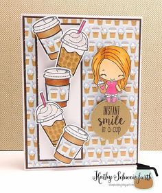 Stamps At Play: Smile In A Cup.  I stamped and paper pieced the cups from The Greeting Farm Perk Up set and this little cutie is also from The Greeting Farm: Mini Remix Brew-tiful.
