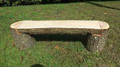 Tree bench Rustic Outdoor Benches, Rustic Wood Bench, Rustic Log Furniture, Backyard Seating, Backyard Patio Designs, Backyard Landscaping, Log Benches, Outdoor Projects, Wood Projects