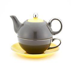 Siena Teapot Gray Yellow, $22, now featured on Fab.