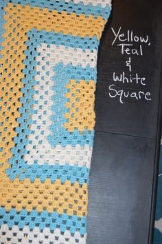 Yellow Teal and White Square Afghan by EfficientLeisure on Etsy