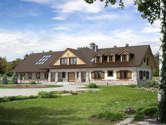 TEU-115: Przestronny dom zaprojektowany w rustykalnym stylu, który może służyć jako pensjonat lub sala weselna! Zobaczcie rzuty projektu!