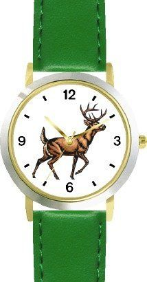 Deer Buck - Animal - WATCHBUDDY® DELUXE TWO-TONE THEME WATCH - Arabic Numbers - Green Leather Strap-Size-Children's Size-Small ( Boy's Size & Girl's Size ) WatchBuddy. $49.95. Save 38% Off!