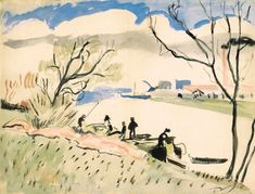 André Derain: La Seine A Nanterre, watercolor and brush and ink on paper Art Fauvisme, Fauvism Art, André Derain, Drawing Practice, Art Moderne, Henri Matisse, French Artists, Impressionism, Watercolor Art