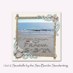 Hidden Mickey Seashell Border Personalized 12x12 Square Sandwriting Border on Etsy, $48.00