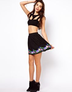 $28, Black Lace Skater Skirt: Asos Skater Skirt With Floral Lace Hem. Sold by Asos. Click for more info: http://lookastic.com/women/shop_items/42221/redirect