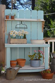 Shed Plans DIY Potting Bench Refresh for Summer time - Flower Patch Farmhouse Now You Can Build ANY Shed In A Weekend Even If You've Zero Woodworking Experience! Rustic Potting Benches, Pallet Garden Benches, Potting Tables, Farmhouse Bench, Farmhouse Garden, Farmhouse Landscaping, Garden Landscaping, Farmhouse Style, Potting Bench Plans