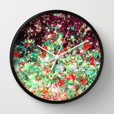 MISTLETOE NEBULA Colorful Festive Christmas Red Green Sparkle Galaxy Ombre Xmas Holidaze Abstract Wall Clock by EbiEmporium #abstract art  artwork,  kitchen clock,  #wall art