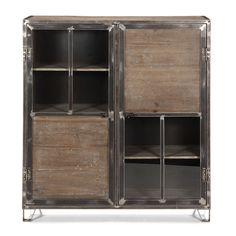 Buffet haut 2 portes en pin, acier et verre Pin recyclé teinté gris - Ware - Les buffets - Buffets et vaisseliers - Tous les meubles - Décoration d'intérieur - Alinéa