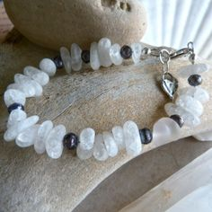 Rock Crystal Quartz and Iridescent Blue by StoneSongNecklaces, $20.00