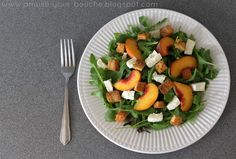 Peach and mozzarella rocket salad with balsamic and homemade croutons - Amuse Your Bouche