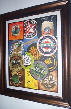 Cute! I think I might have enough coasters to make one of these. Beer coaster art <3