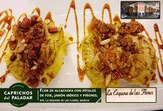 y si te encuentras por Murcia, nuestros amigos de la Esquina de las Flores, en la plaza de las Flores,  nos pasan esta tapa: Flor de Alcachofa con pétalos de foie, jamón ibérico y piñones ¡ vaya pinta !