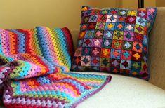Crochet mini granny cushion