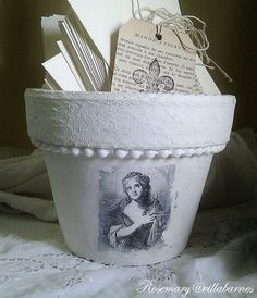 Terra Cotta Pot with Gesso, lace, pearls and a transfer...beautiful!