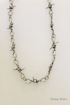 Pewter Silver Handmade Diamond Cut Barbed Wire Chain Jewelry Necklace