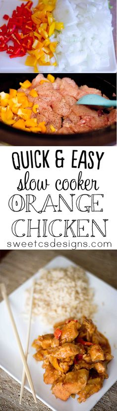Slow Cooker orange chicken- this recipe is SO easy and delicious! Under 10 minutes prep time and then set and forget! This has been slimmed ...