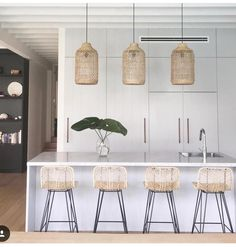 🙌 Design By ~ featuring gorgeo… Love love love this kitchen! 🙌 Design By ~ featuring gorgeous 'Lili Pendants' from Uniqwa Collections and bar stools by The Family Love Tree Boho Kitchen, Home Decor Kitchen, Interior Design Kitchen, Home Kitchens, Rattan Bar Stools, Bar Chairs, Kitchen Pendants, Cuisines Design, Cheap Home Decor