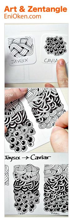 Morphing between Zentangle patterns, transitioning between one tangle and the next. • enioken.com